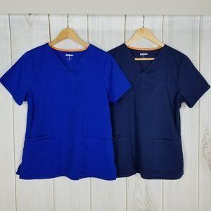 Scrubstar Bundle 2 Blue Nurses Medical Scrubs Top